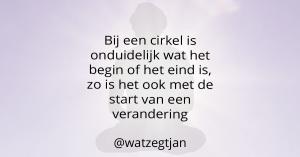 Bij een cirkel is onduidelijk wat het begin of het eind is, zo is het ook met de start van een verandering