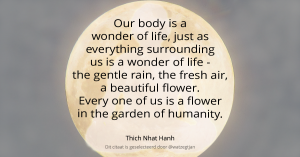 Our body is a wonder of life, just as everything surrounding us is a wonder of life - the gentle rain, the fresh air, a beautiful flower. Every one of us is a flower in the garden of humanity. - Thich Nhat Hanh - uit De wereld is mijn thuis