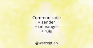 Communicatie = zender + ontvanger + ruis